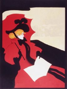 Vintage Woman In Red Advertising Poster.